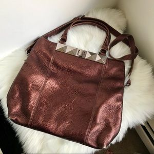 Badgley Mischka copper tote and crossbody